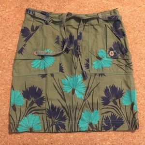 Anthropologie army green embroidered skirt